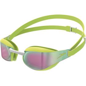 speedo Elite Mirror Goggles Juniors Green/Red
